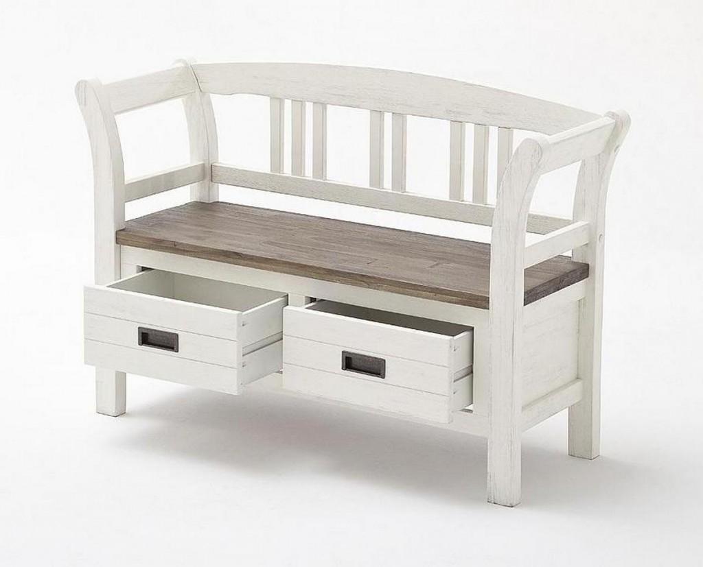 dielenbank akazie wei vintage sitzbank shabby chic. Black Bedroom Furniture Sets. Home Design Ideas