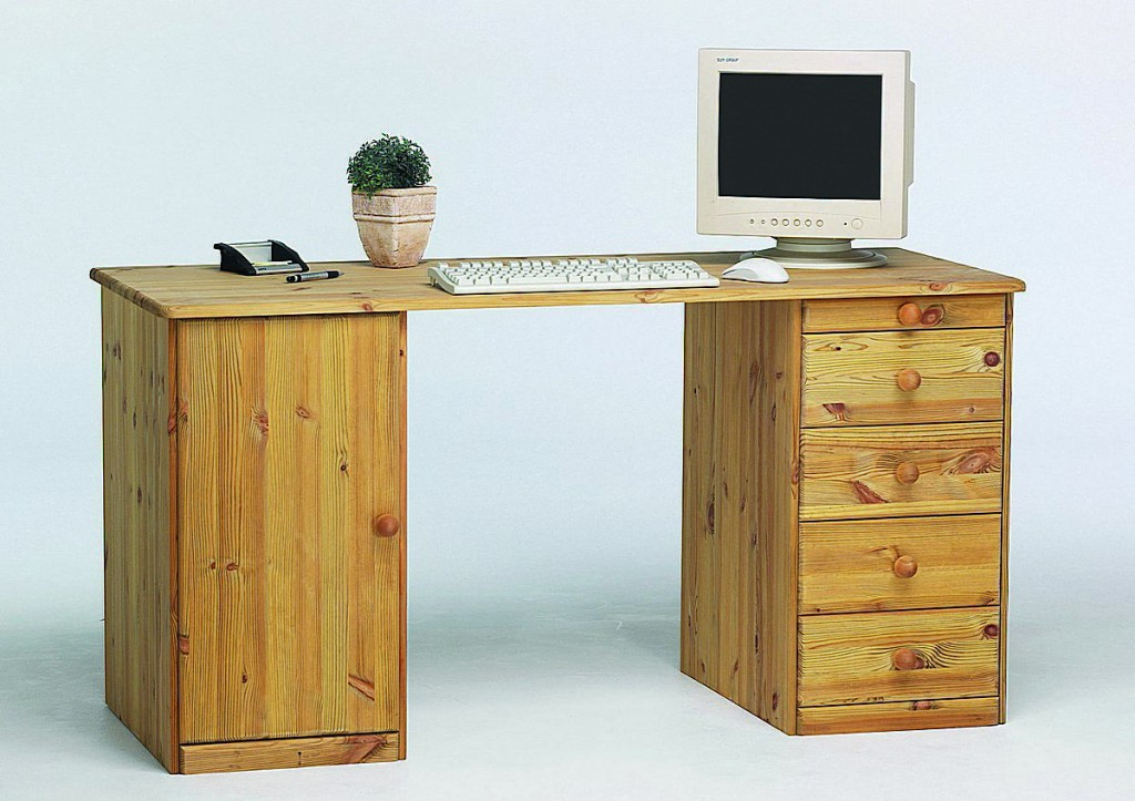 computertisch jugend schreibtisch pc tisch gro holz kiefer massiv gelaugt ge lt ebay. Black Bedroom Furniture Sets. Home Design Ideas