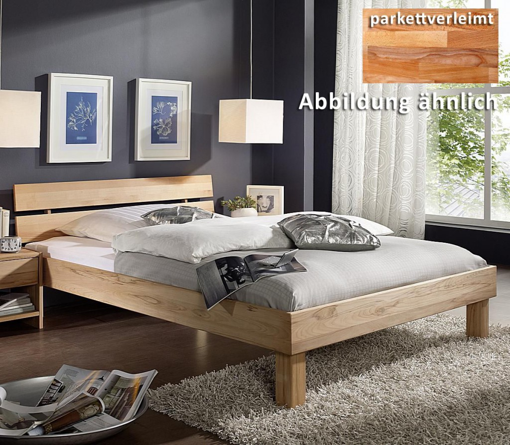massivholz doppelbett 180x200 holzbett mit geteiltem kopfteil kernbuche massiv ge lt. Black Bedroom Furniture Sets. Home Design Ideas