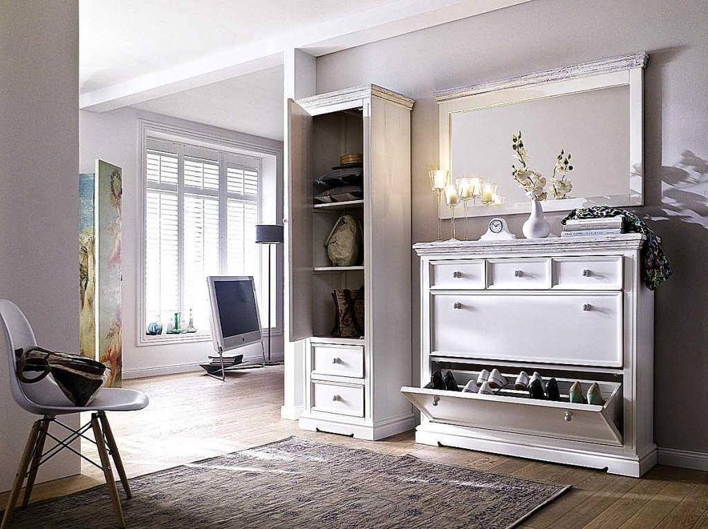 schuhschrank recycling kiefer wei vintage schuhkommode. Black Bedroom Furniture Sets. Home Design Ideas
