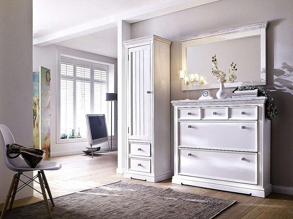 dielen set 3 teilig recycling kiefer wei vintage dielenm bel shabby chic. Black Bedroom Furniture Sets. Home Design Ideas