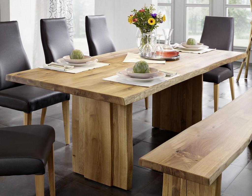 wangentisch 220x100 wildeiche massiv esstisch baumkante eiche ge lt. Black Bedroom Furniture Sets. Home Design Ideas