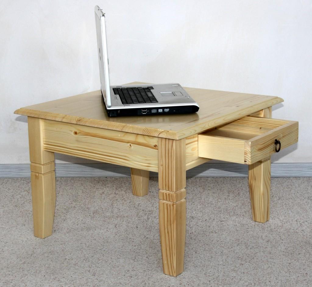 massivholz couchtisch beistelltisch natur lackiert sofatisch tisch 65x65cm mit schublade. Black Bedroom Furniture Sets. Home Design Ideas