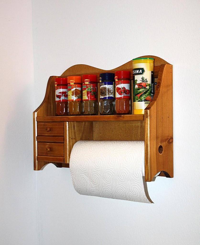 Massivholz k chenrollenhalter honigfarben 2 schubladen k chenregal handtuchhalter holz - Handtuchhalter holz ...