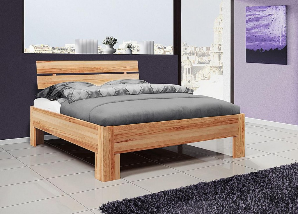 bett 140x200 doppelbett holzbett massiv kernbuche ge lt. Black Bedroom Furniture Sets. Home Design Ideas
