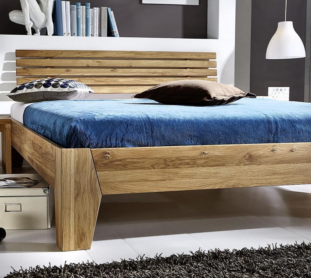 bett 140x200 doppelbett eichebett massiv wildeiche ge lt. Black Bedroom Furniture Sets. Home Design Ideas