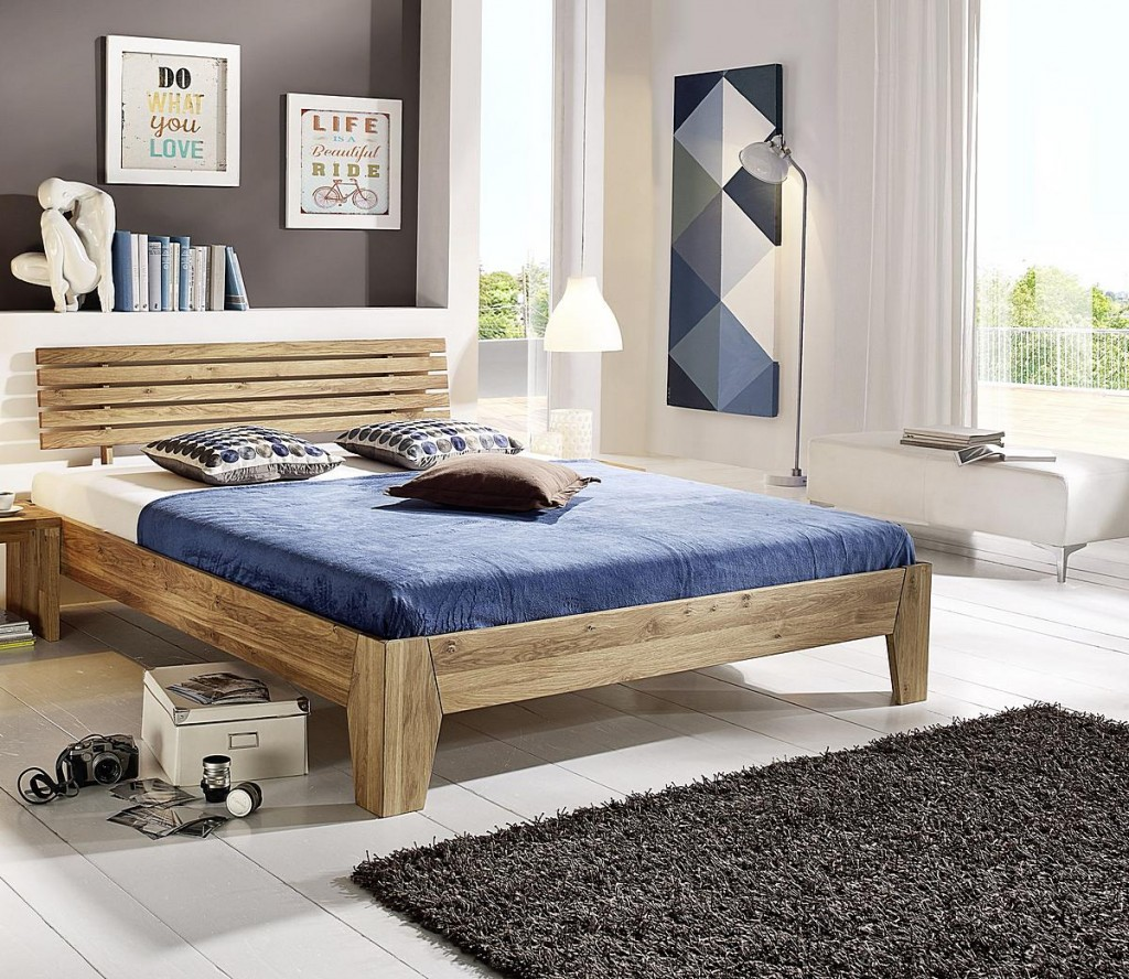 bett 140x200 doppelbett eichebett massiv wildeiche ge lt. Black Bedroom Furniture Sets. Home Design Ideas