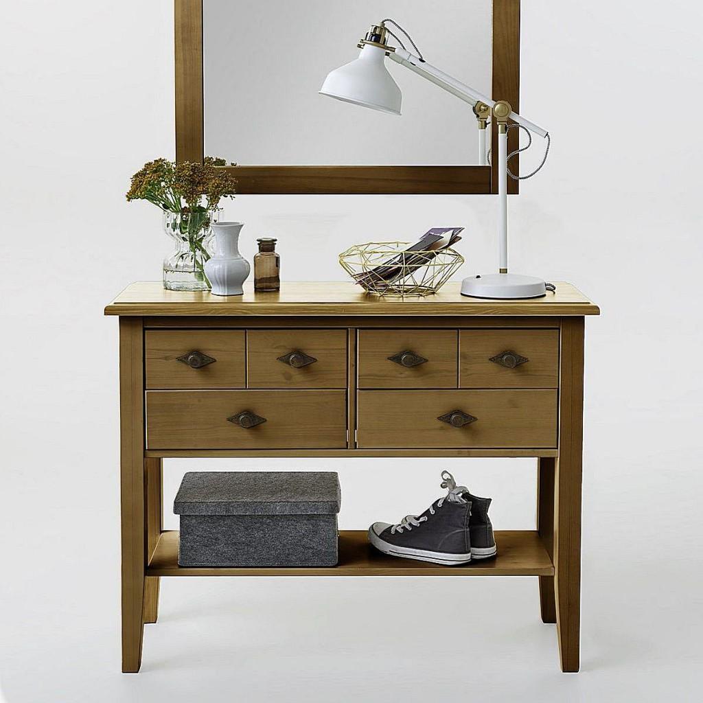 telefontisch konsolentisch 4 schubladen kiefer massiv gelaugt ge lt. Black Bedroom Furniture Sets. Home Design Ideas