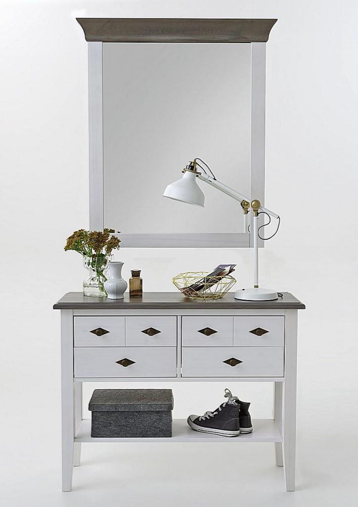 dielen set flurkommode spiegel kiefer massiv 2 farbig wei grau. Black Bedroom Furniture Sets. Home Design Ideas