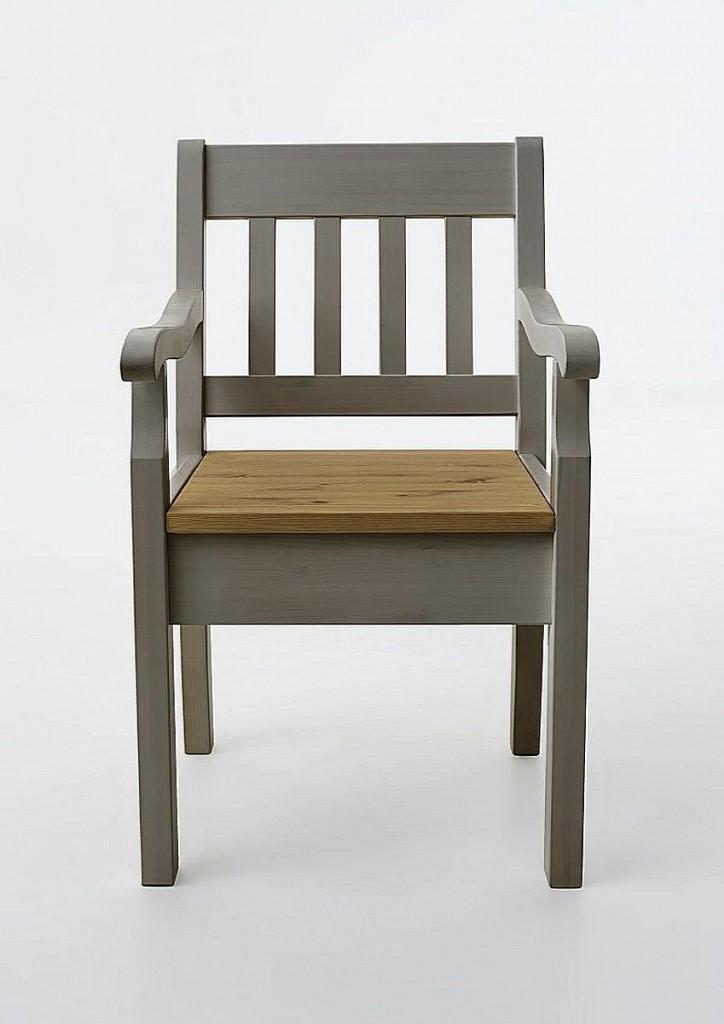 Massivholz armlehnstuhl kiefer sessel stuhl mit armlehnen for Sessel stuhl grau