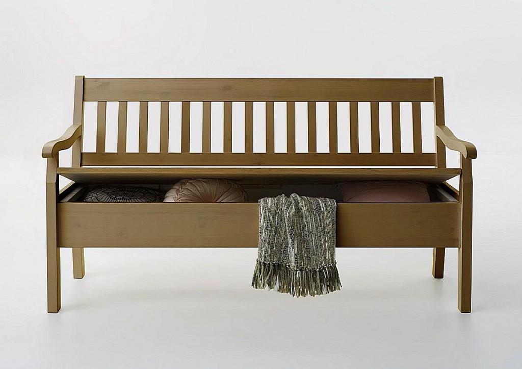 sitzbank 83cm kiefer massiv truhenbank gelaugt ge lt. Black Bedroom Furniture Sets. Home Design Ideas