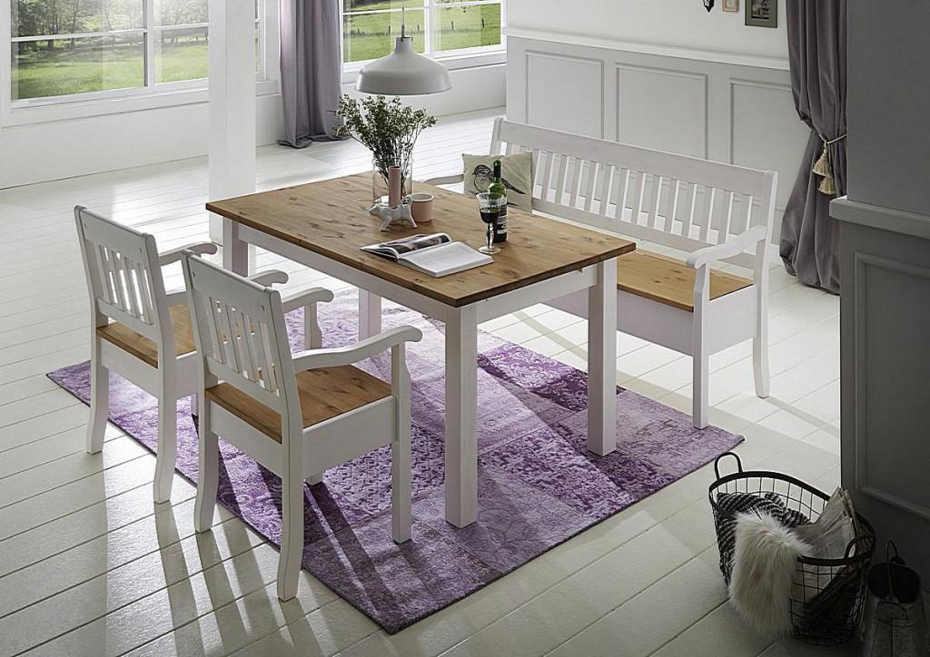 essgruppe mit bank und st hlen kiefer massiv 2 farbig wei gelaugt. Black Bedroom Furniture Sets. Home Design Ideas