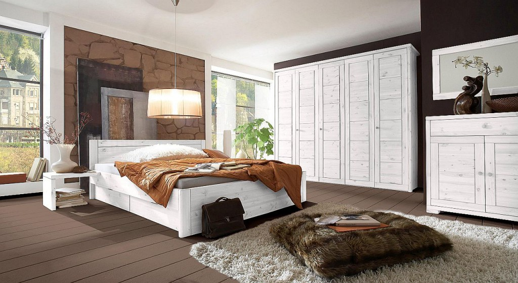 massivholz kleiderschrank 2t rig schlafzimmerschrank kiefer wei lasiert. Black Bedroom Furniture Sets. Home Design Ideas