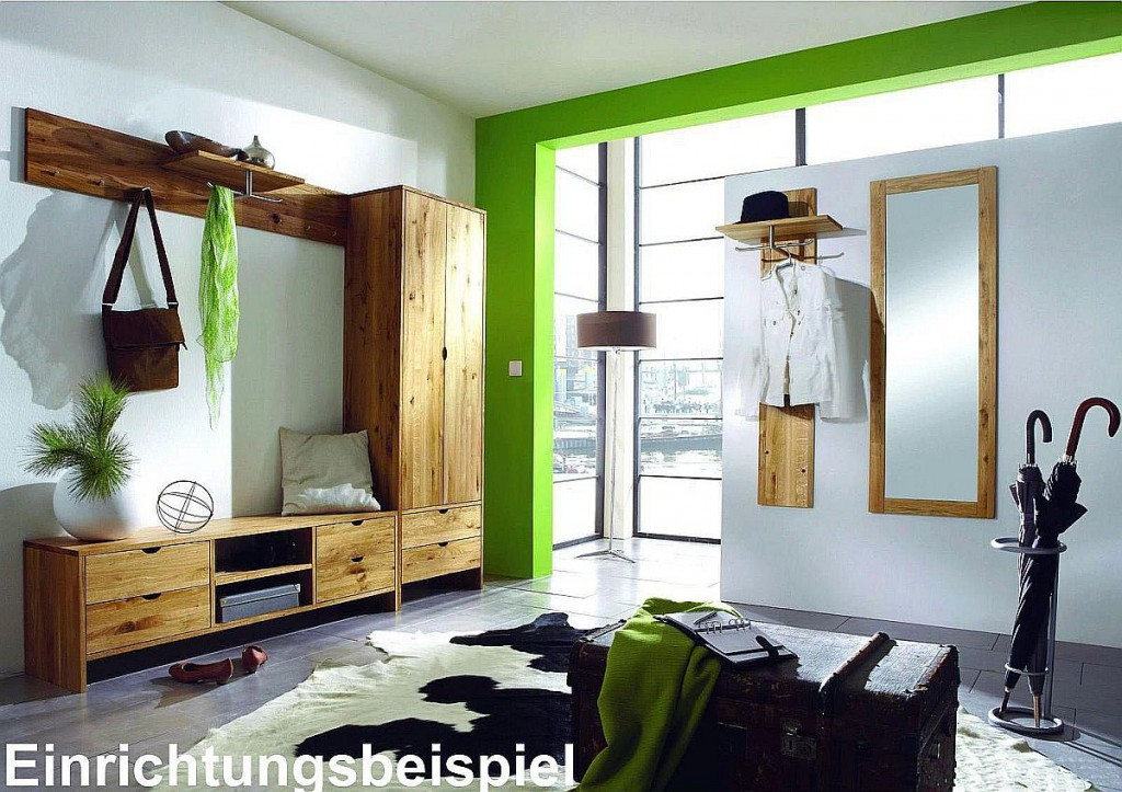 Massivholz wandpaneel garderobenpaneel flurgarderobe for Garderoben set eiche massiv