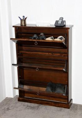 Schuhschrank mit 3 klappen schuhkommode nussbaumfarben for Beistelltisch zum klappen