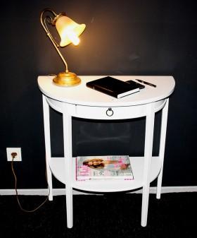 Massivholz Konsolentisch Telefontisch Wandkonsole halbrund Holz massiv weiß