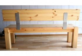 massivholz sitzbank 160cm mit r ckenlehne holzbank lehne. Black Bedroom Furniture Sets. Home Design Ideas