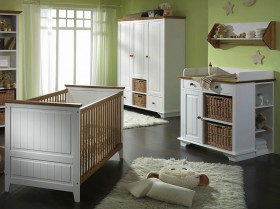 Babyzimmer-Set 4teilig Kinderzimmer Möbel 2-farbig weiss/honig Kiefer massiv