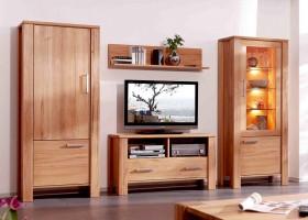 massivholz wohnwand als set bestehend aus mehreren teilen. Black Bedroom Furniture Sets. Home Design Ideas