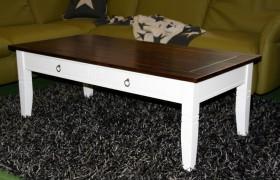 Couchtisch weiß/kolonial Wohnzimmertisch mit Schubladen rechteckig Holz massiv 2-farbig