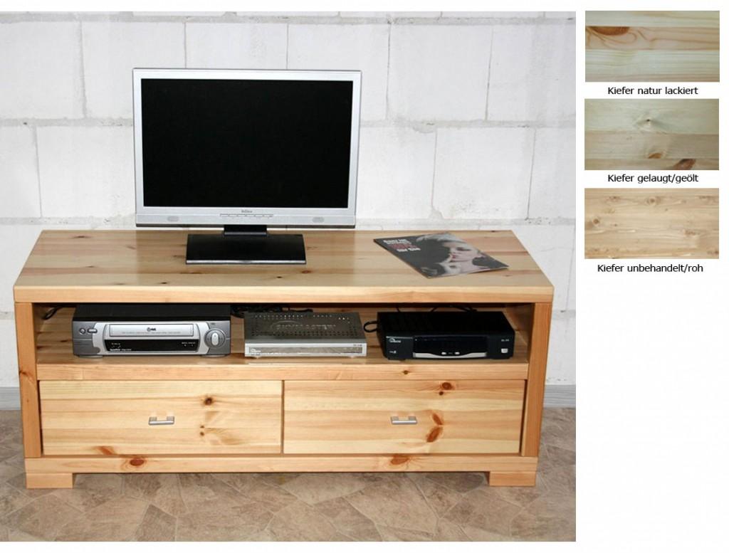 massivholz tv lowboard 120cm tv m bel kiefer natur. Black Bedroom Furniture Sets. Home Design Ideas