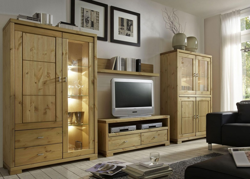 massivholz tv lowboard 120cm tv m bel kiefer natur. Black Bedroom Furniture Sets. Home Design Ideas