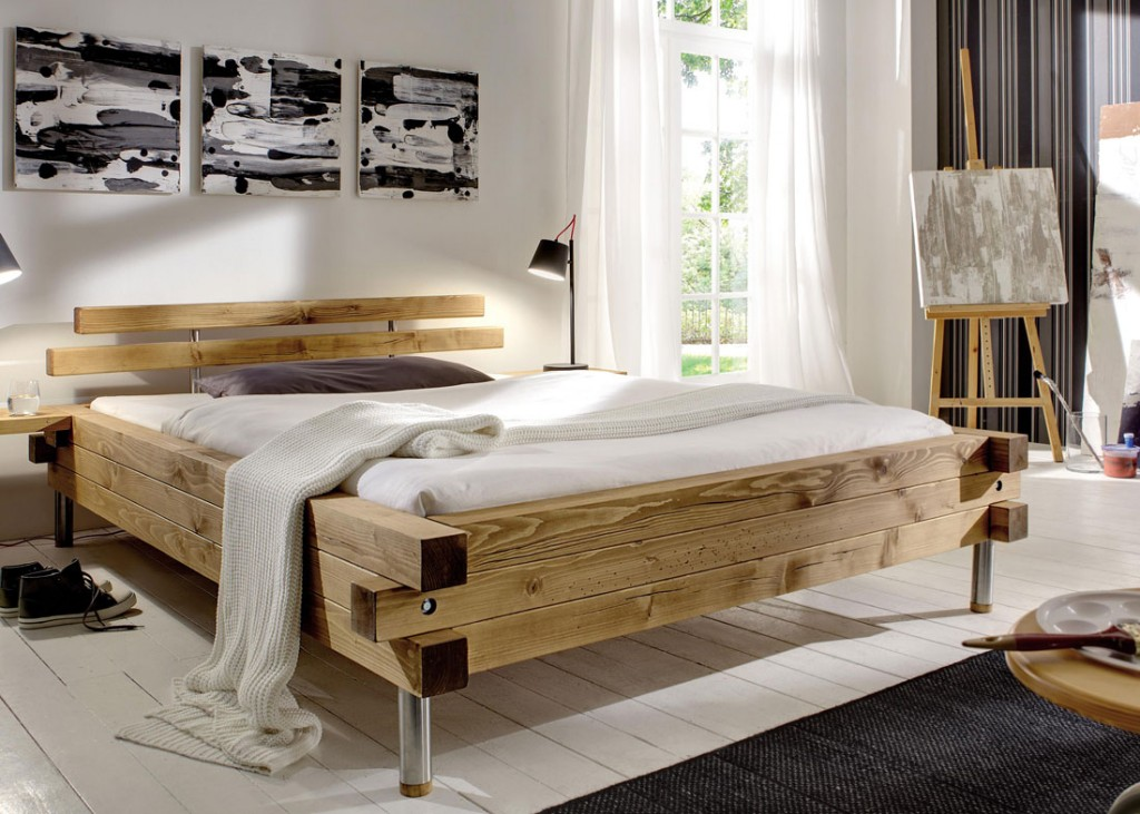holzbett massiv rustikal. Black Bedroom Furniture Sets. Home Design Ideas