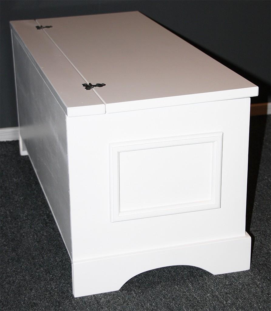 Wäschetruhe Holz Weis Lackiert Wäschekorb ~   Truhe Holztruhe Wäschetruhe Sitztruhe 39×84  Holz massiv weiß