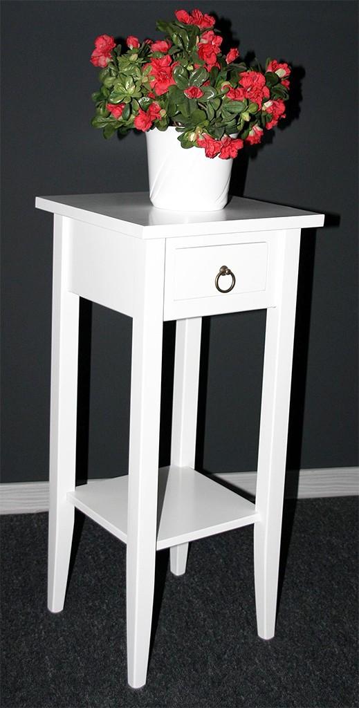 massivholz beistelltisch blumentisch blumenhocker 70 holz massiv wei lackiert. Black Bedroom Furniture Sets. Home Design Ideas