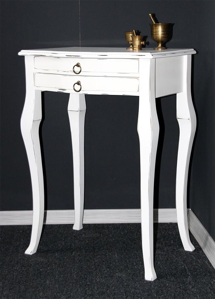 Retro Esstisch Tulpenfuß Weiß ~ Massivholz Beistelltisch Konsolentisch Wandtisch Holz massiv weiß Vintage
