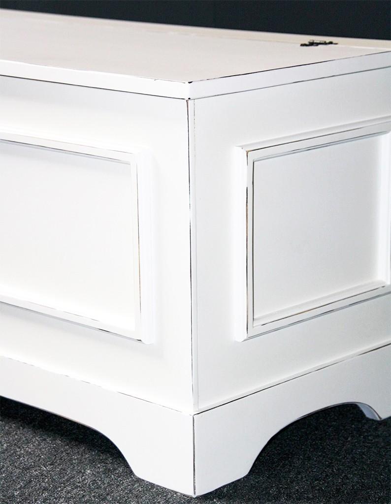 massivholz truhe holztruhe sitztruhe 39x84 holz massiv wei vintage shabby chic. Black Bedroom Furniture Sets. Home Design Ideas