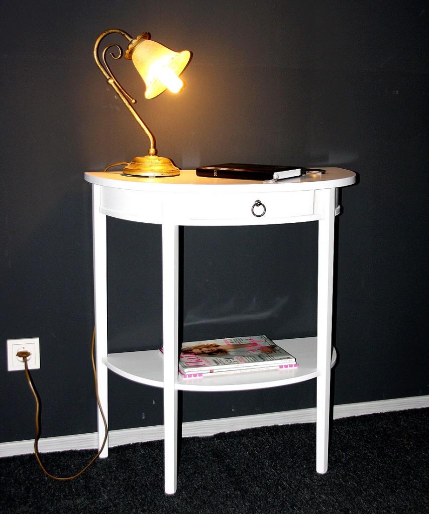 Konsolentisch Telefontisch Wandkonsole halbrund Holz massiv weiß