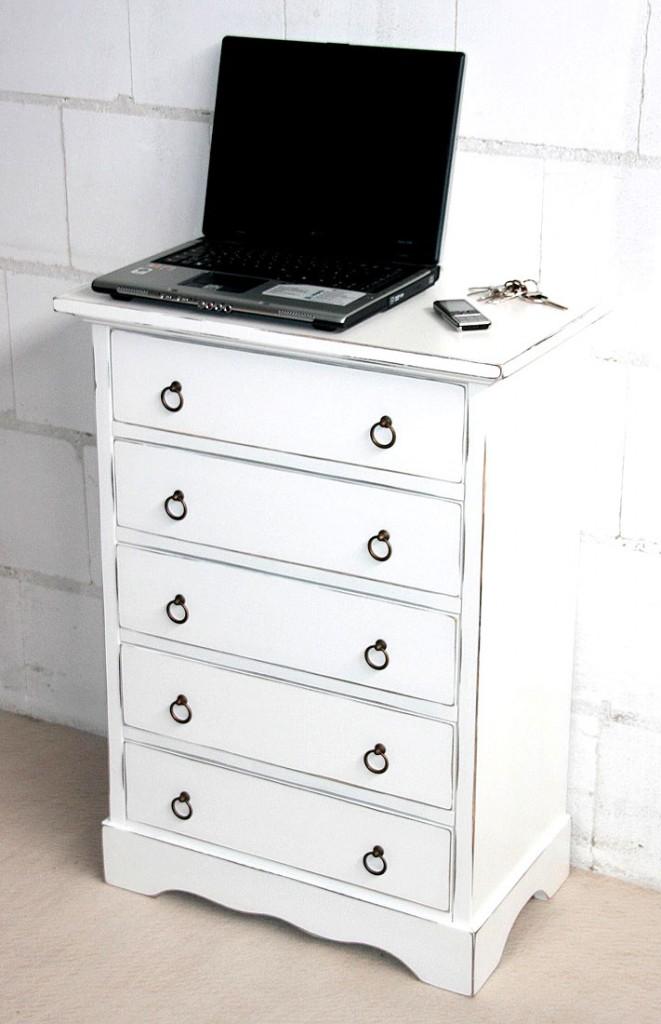 massivholz schubladenkommode wei shabby chic mit 5. Black Bedroom Furniture Sets. Home Design Ideas