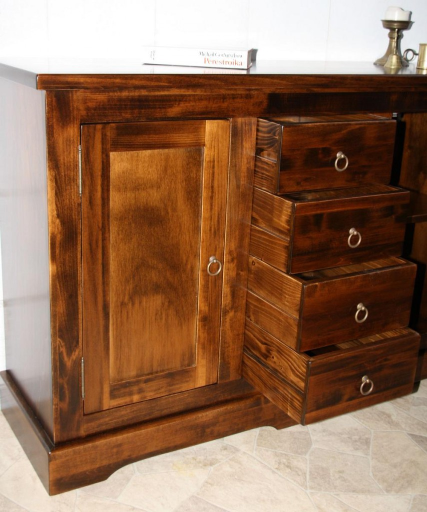 massivholz kommode 2 t rig mit 4 schubladen sideboard pappel kolonial. Black Bedroom Furniture Sets. Home Design Ideas