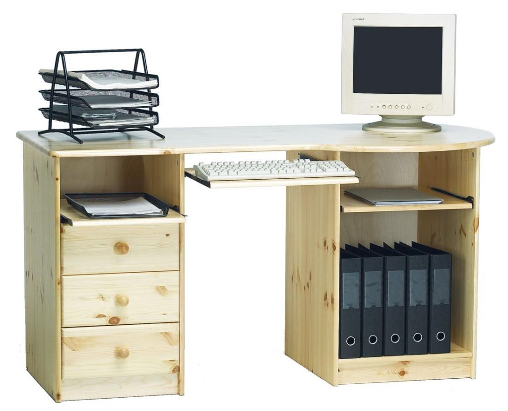 Massivholz Schreibtisch PC-Tisch Computertisch Kinderschreibtisch natur-lackiert