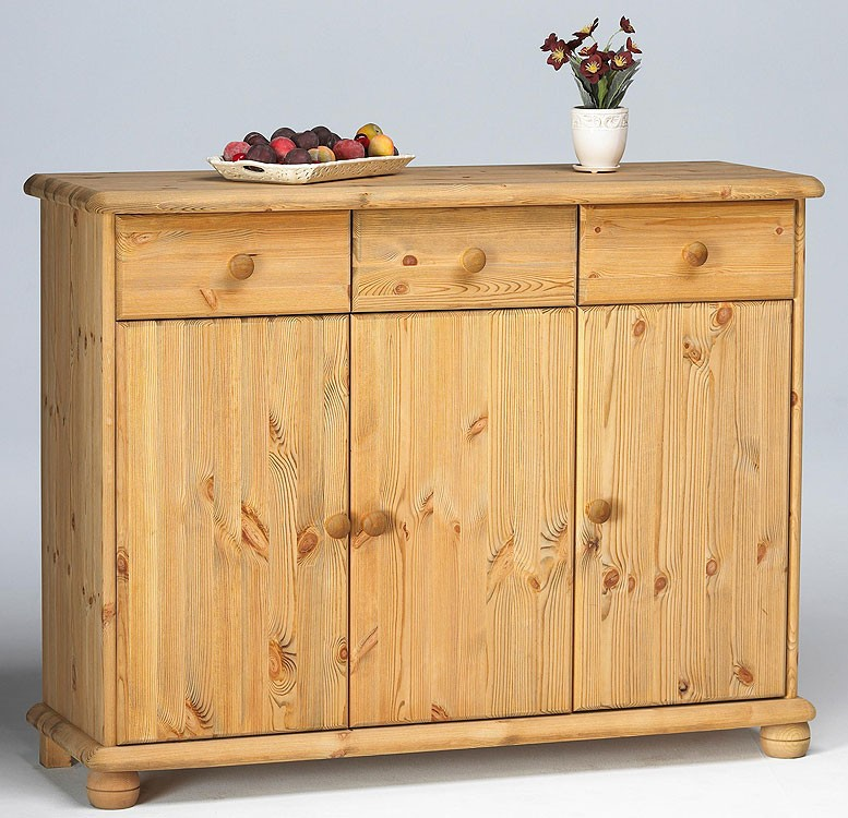 Massivholz sideboard kiefer massiv gelaugt ge lt kommode 3 for Sideboard kiefer