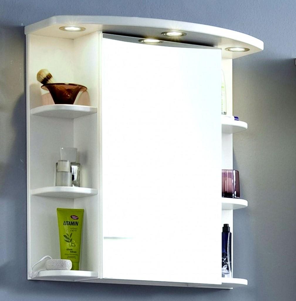 Massivholz Badmöbel Set 6 teilig mit Spiegelschrank Kiefer weiß
