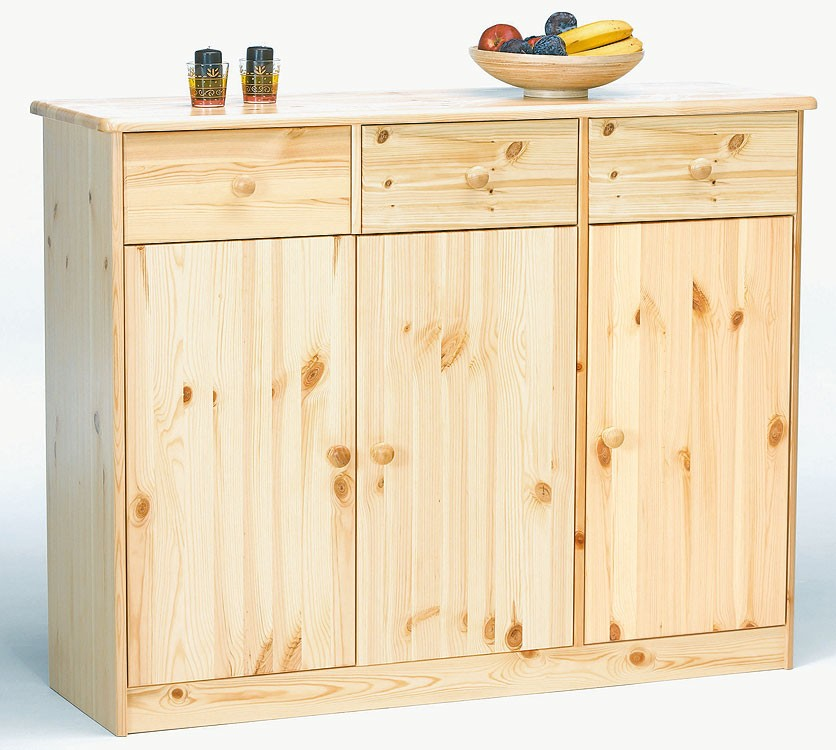 massivholz highboard sideboard kommode anrichte kiefer natur lackiert. Black Bedroom Furniture Sets. Home Design Ideas