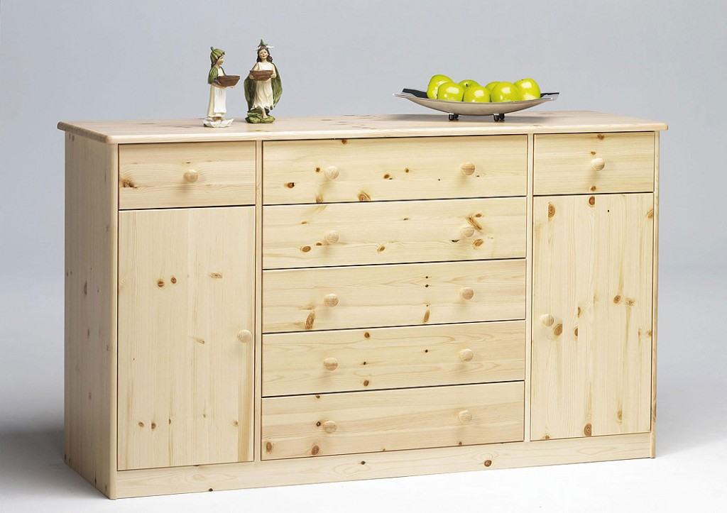 Massivholz sideboard anrichte kommode buffetschrank kiefer for Kommode natur
