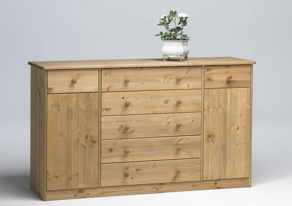 sideboard anrichte schubladen kommode schrank massiv holz kiefer gelaugt ge lt ebay. Black Bedroom Furniture Sets. Home Design Ideas