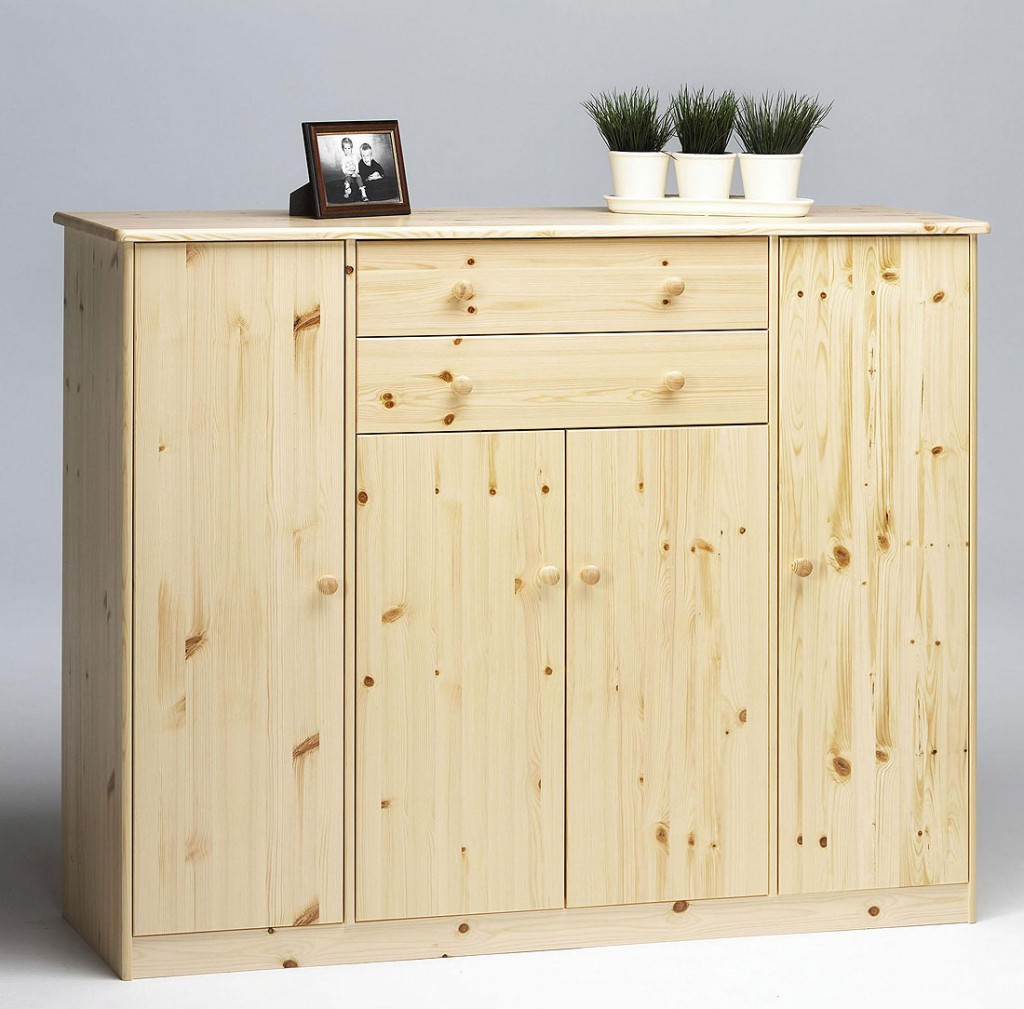 massivholz sideboard kommode anrichte buffetschrank kiefer natur lackiert. Black Bedroom Furniture Sets. Home Design Ideas