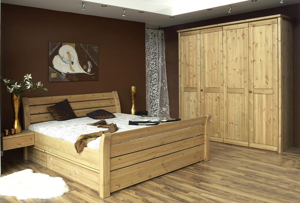 Massivholz Schlafzimmer komplett 6teilig Landhausstil Kiefer gelaugt