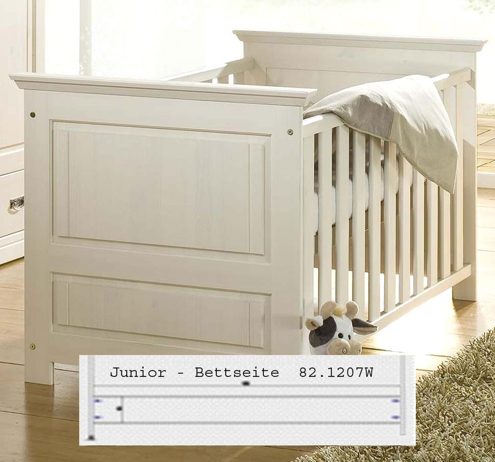 Massivholz babybett juniorbett wei gewachst kinderbett for Kinderbett massivholz 70x140