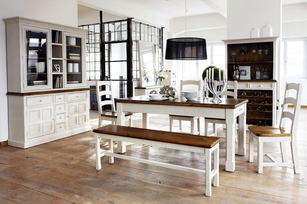 sideboard anrichte shabby vintage look kiefer massiv wei honig. Black Bedroom Furniture Sets. Home Design Ideas