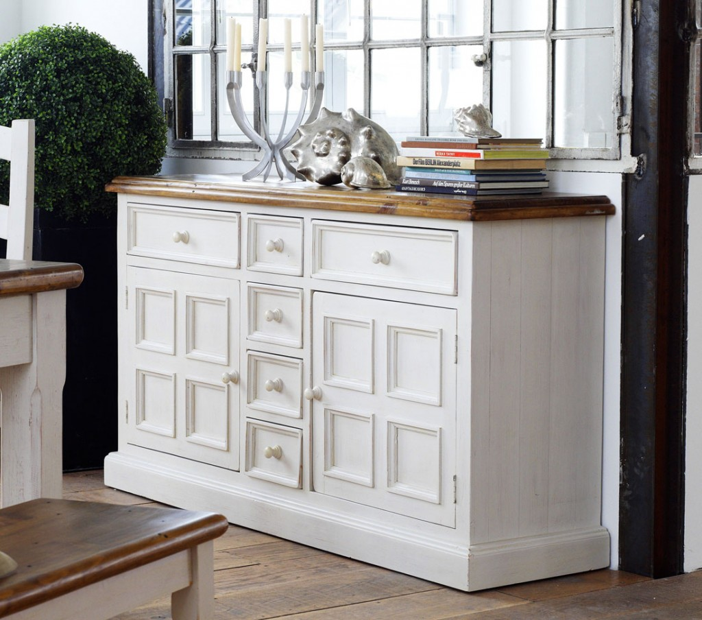 sideboard anrichte shabby vintage look kiefer massiv wei. Black Bedroom Furniture Sets. Home Design Ideas