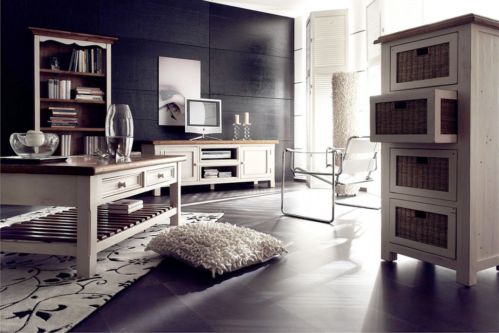 sideboard anrichte shabby vintage look kiefer massiv wei honig. Black Bedroom Furniture Sets. Home Design Ideas