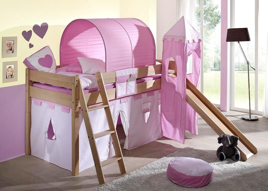 massivholz hochbett spielbett mit vorhang buche massiv natur lackiert. Black Bedroom Furniture Sets. Home Design Ideas