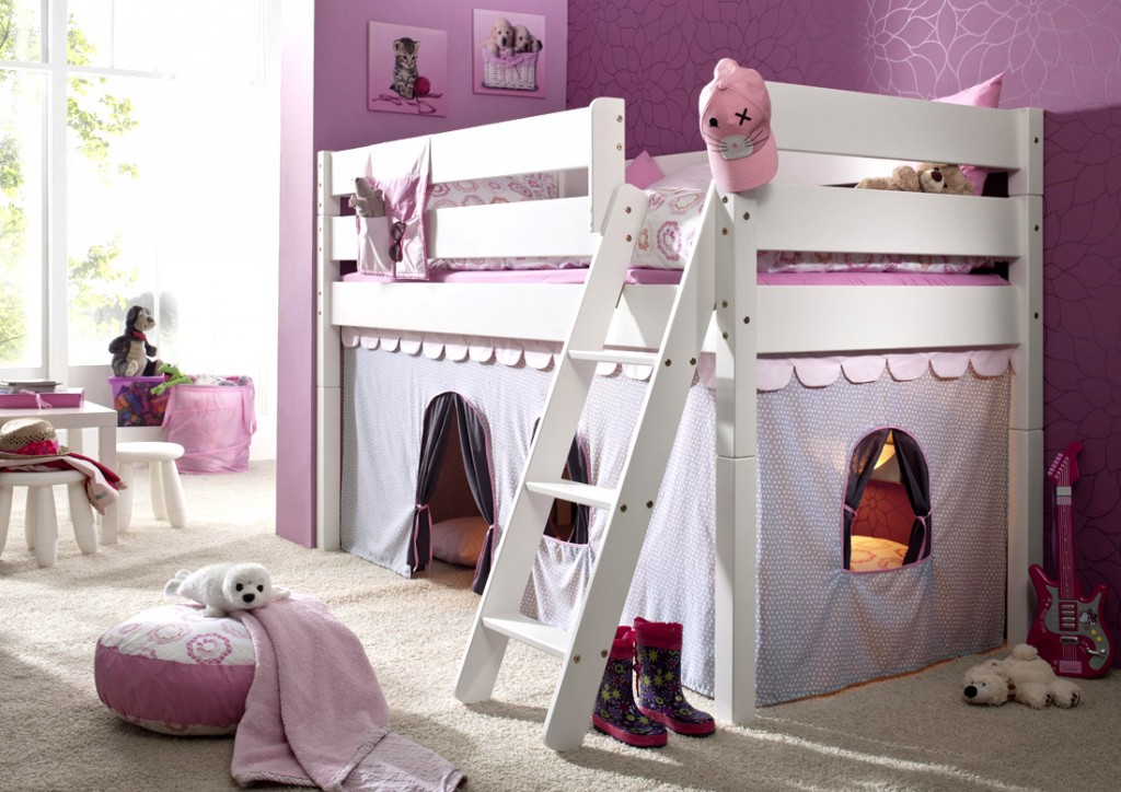 massivholz hochbett spielbett mit vorhang girl buche. Black Bedroom Furniture Sets. Home Design Ideas