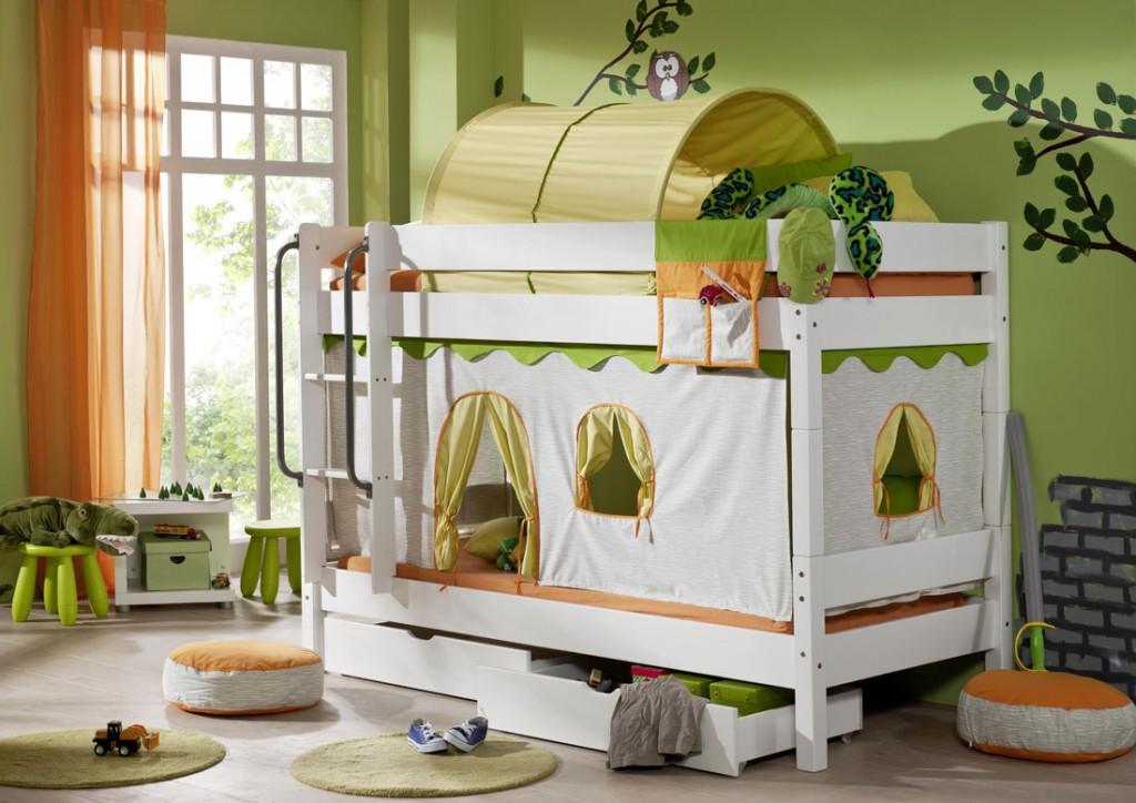 massivholz etagenbett hochbett wei mit vorhang dschungel. Black Bedroom Furniture Sets. Home Design Ideas
