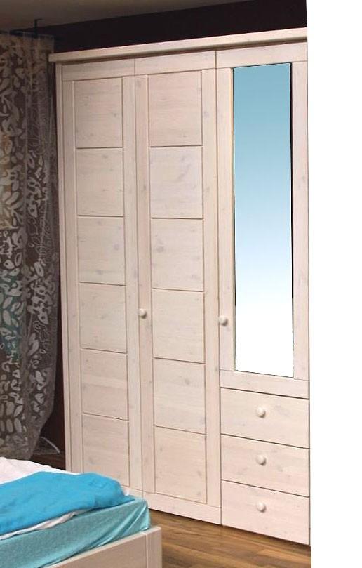 massivholz kleiderschrank 3t rig schlafzimmerschrank kiefer massiv wei oder honig. Black Bedroom Furniture Sets. Home Design Ideas
